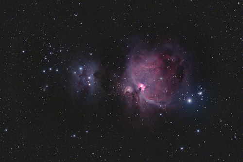 Comet 217p passing by M42 Orion nebula